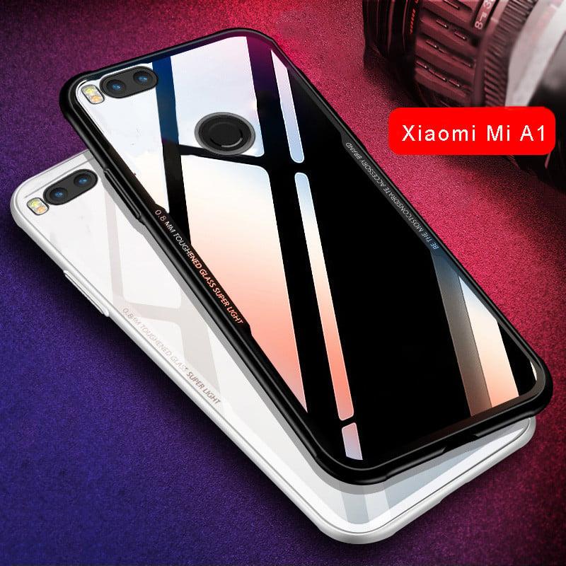 timeless design 60cac a8be1 Vaku ® Xiaomi Mi A1 GLASSINO Luxurious Edition Ultra-Shine Silicone Frame  Ultra-Thin Case Transparent Back Cover