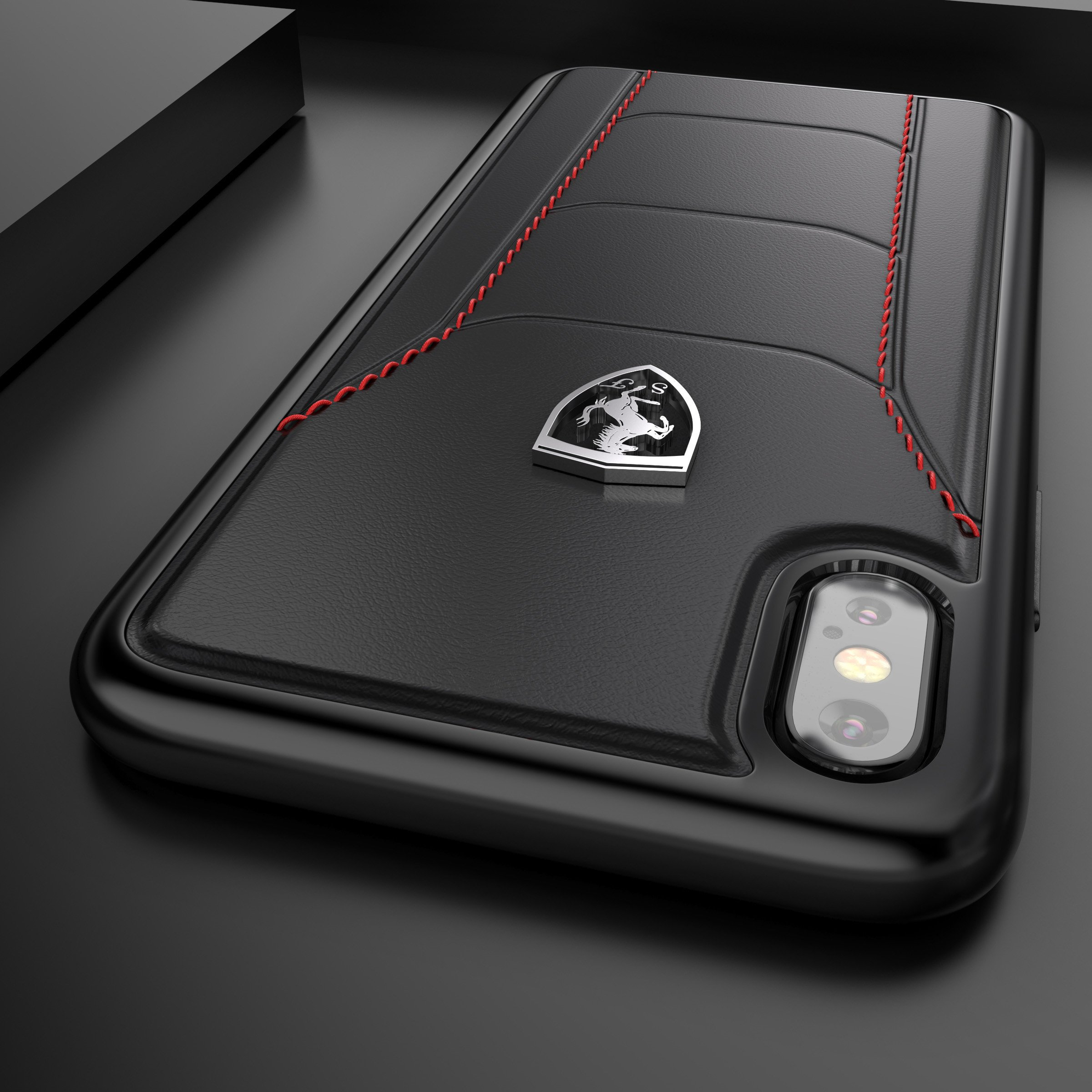sports shoes eef7e 72f5e Ferrari ® Apple iPhone XS Official 488 GTB Logo Double Stitched  Dual-Material Pure Leather Back Cover