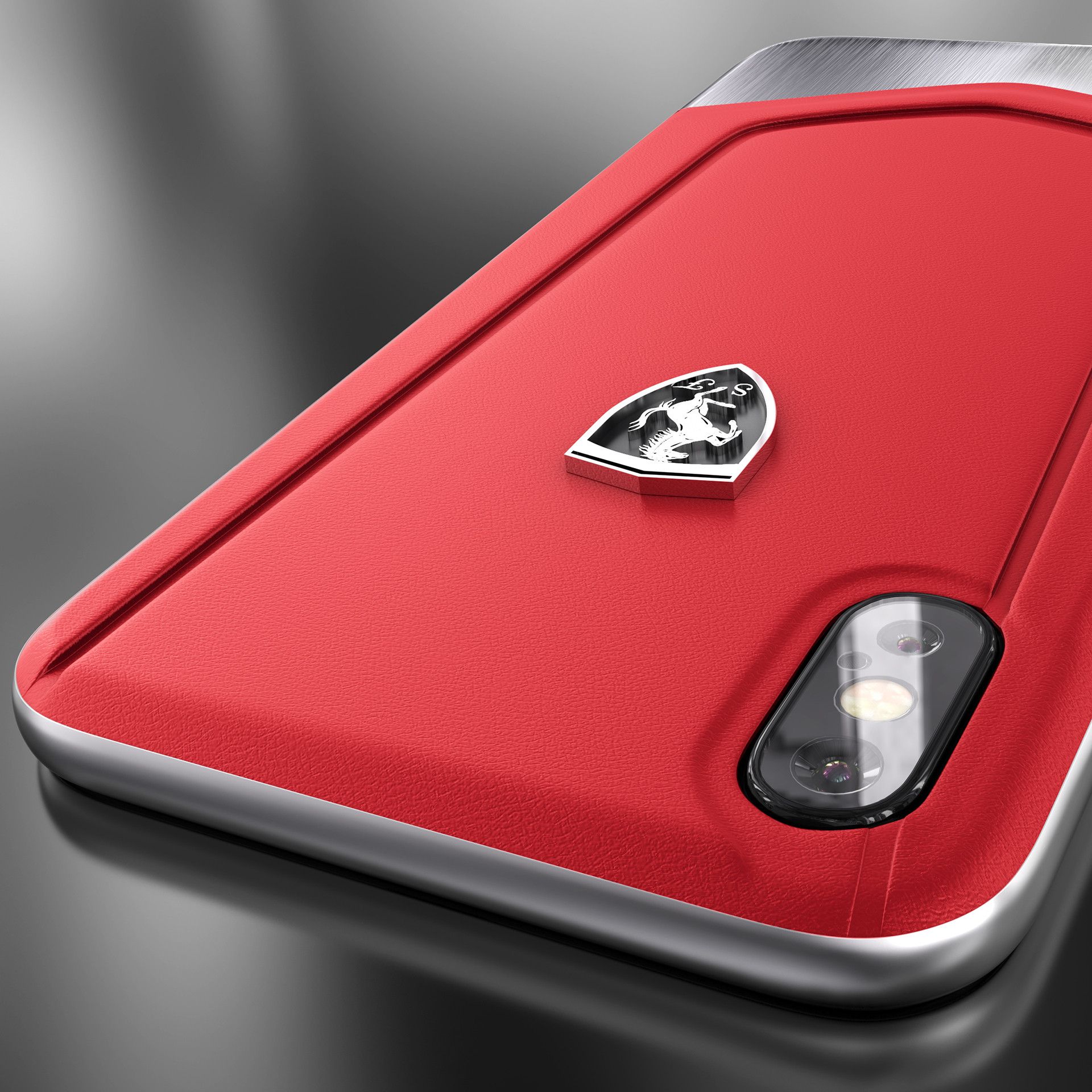 size 40 f26f0 81c67 Ferrari ® Apple iPhone X Moranello Series Luxurious Leather + Metal Case  Limited Edition Back Cover