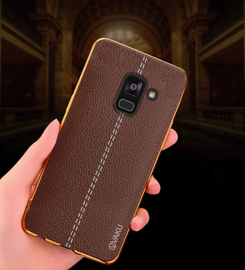 sports shoes 08b35 0efa5 Vaku ® Samsung Galaxy A8 Plus Lexza Series Double Stitch Leather Shell with  Metallic Camera Protection Back Cover