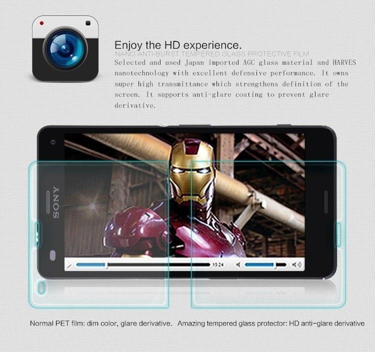Dr  Vaku ® Sony Xperia J Ultra-thin 0 2mm 2 5D Curved Edge Tempered Glass  Screen Protector Transparent