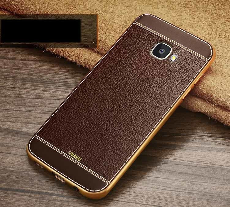 quality design 06c0f 57a53 VAKU ® Samsung Galaxy A5 (2016) Leather Stiched Gold Electroplated Soft TPU  Back Cover