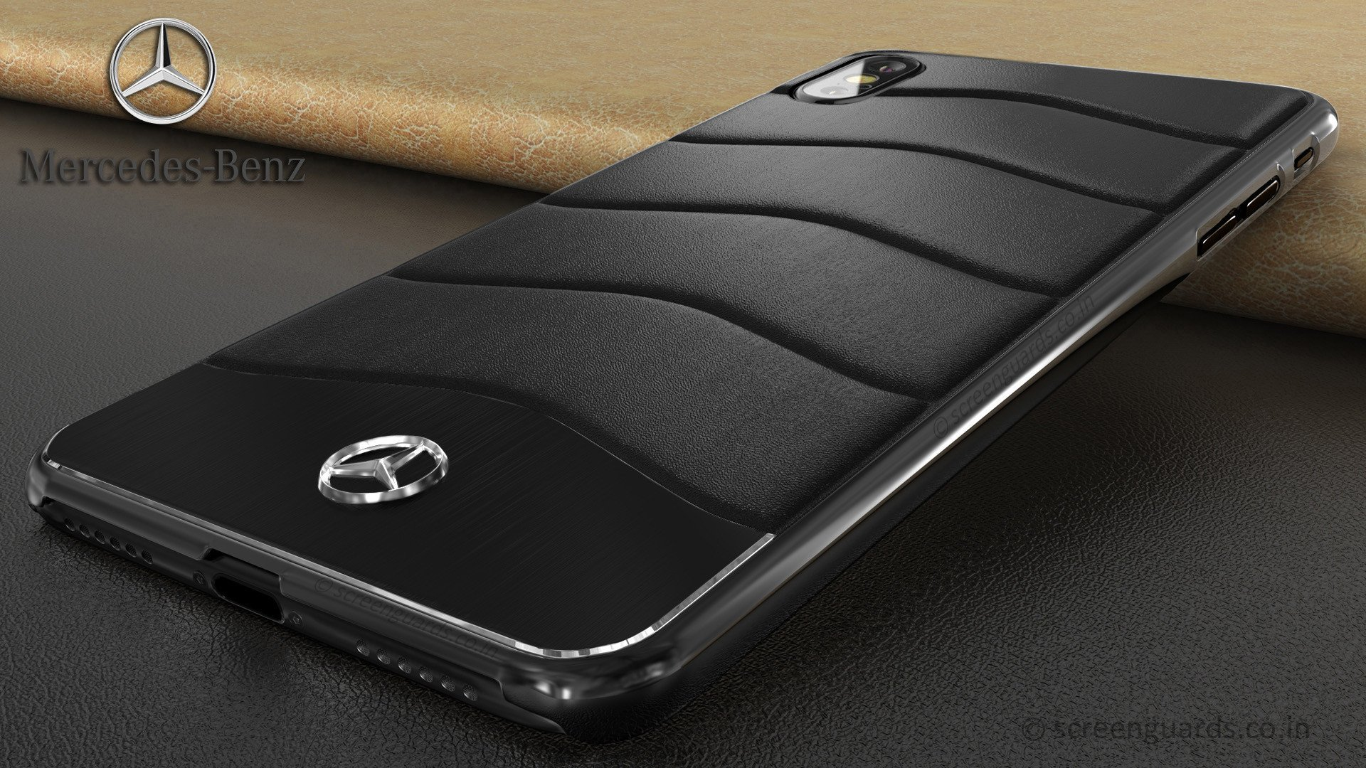 Mercedes Benz Apple Iphone X Xs Concept S Coupe Series Electroplated Metal Leather Hard Case Back Cover