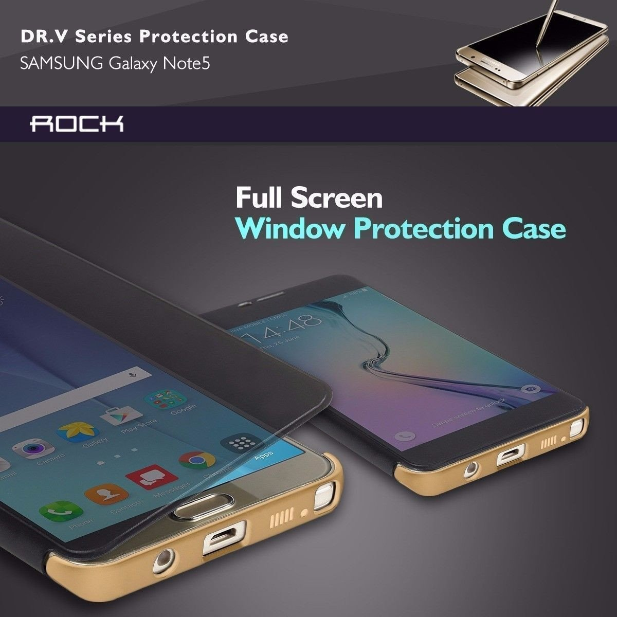Rock ® Samsung Galaxy Note 5 DR Vaku Invisible SmartView Translucent Touch  Case Flip Cover