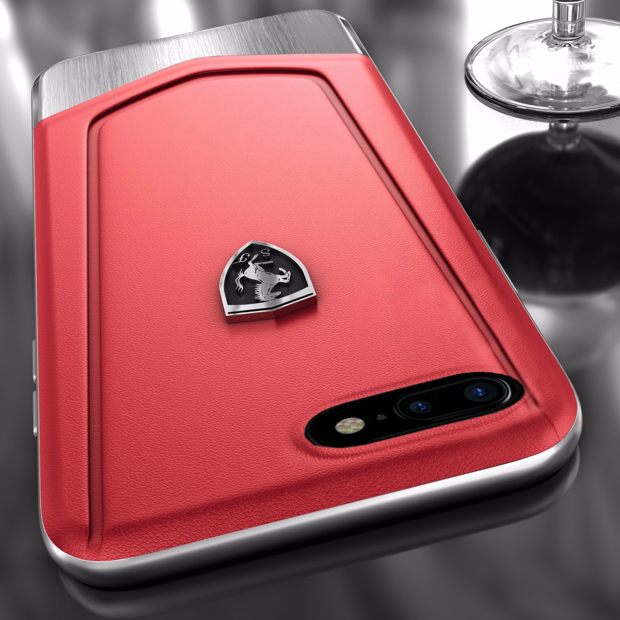 super popular c131d 791c1 Ferrari ® Apple iPhone 8 Plus Moranello Series Luxurious Leather + Metal  Case Limited Edition Back Cover