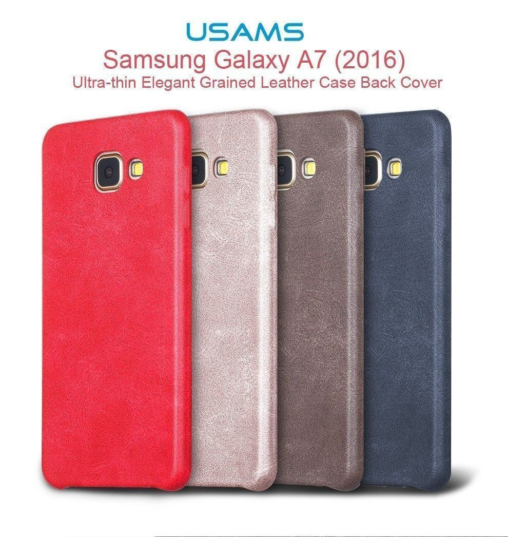 Usams ® Samsung Galaxy A7 (2016) Ultra-thin Elegant Grained Leather Case Back Cover - Galaxy A7 (2016) - Samsung - Mobile / Tablet - Luxurious Covers