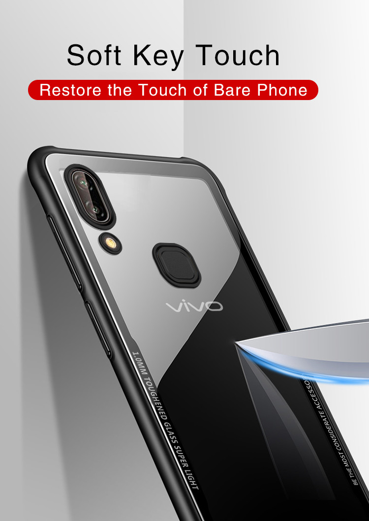 Vaku Vivo V9 Glassino Luxurious Edition Ultra Shine Silicone Frame Case Thin Transparent Back Cover