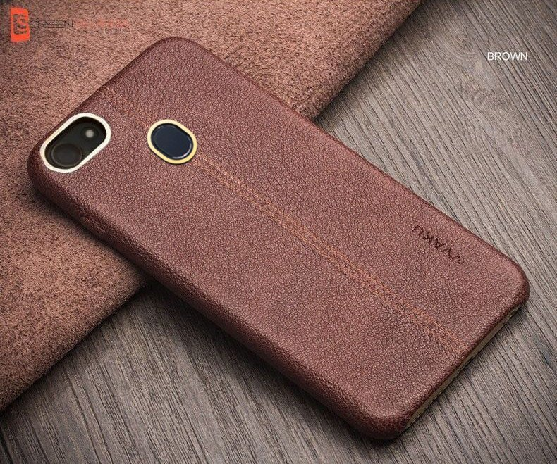 reputable site 7d149 1eb61 Vaku ® Oppo F5 Youth Lexza Series Double Stitch Leather Shell with Metallic  Camera Protection Back Cover
