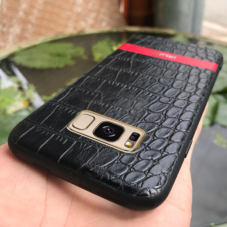 sports shoes 8f2f2 f023a Hojar ® Samsung Galaxy S8 Plus Stroco Series Crocodile Finish Gold Plated  Textured Leather Back Cover