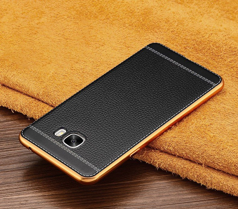 buy online 665c8 8bba7 Vaku ® Samsung Galaxy C7 Pro Leather Stitched Gold Electroplated Soft TPU  Back Cover