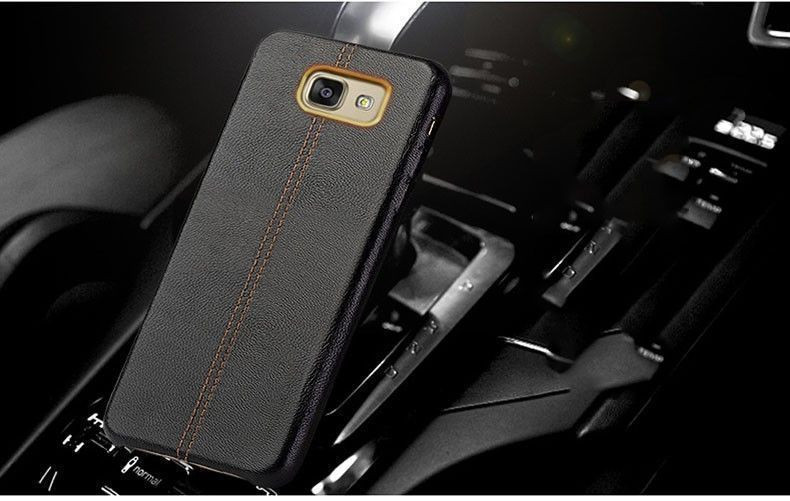 hot sale online 51640 342f2 Vaku ® Samsung Galaxy J7 Prime Lexza Series Double Stitch Leather Shell  with Metallic Camera Protection Back Cover