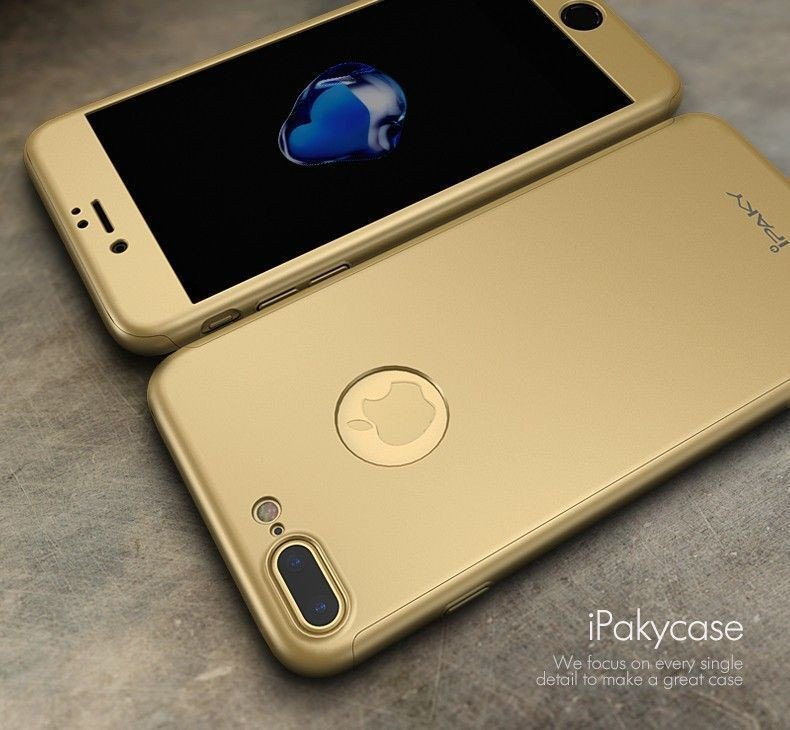 iphone 7 gold front. i-paky ® apple iphone 7 plus 360 full protection metallic finish 3-in-1 ultra-thin slim front case + tempered back cover iphone gold