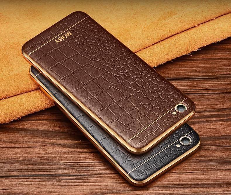 brand new 30cc2 70c79 Vaku ® Vivo Y53 European Leather Stitched Gold Electroplated Soft TPU Back  Cover