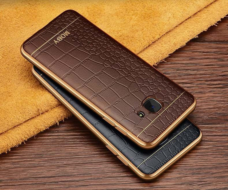 detailed look 2a0d6 a4070 VAKU ® Samsung J7 Prime European Leather Stiched Gold Electroplated Soft  TPU Back Cover