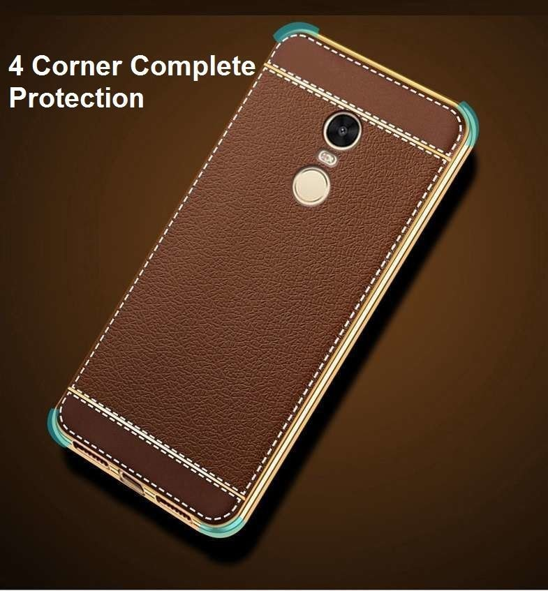 the best attitude f5755 b5a9f VAKU ® XIAOMI Redmi Note 4 Leather Stiched Gold Electroplated Soft TPU Back  Cover