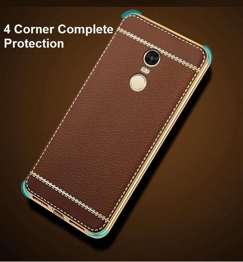 the best attitude d6e76 c078a VAKU ® XIAOMI Redmi Note 4 Leather Stiched Gold Electroplated Soft TPU Back  Cover