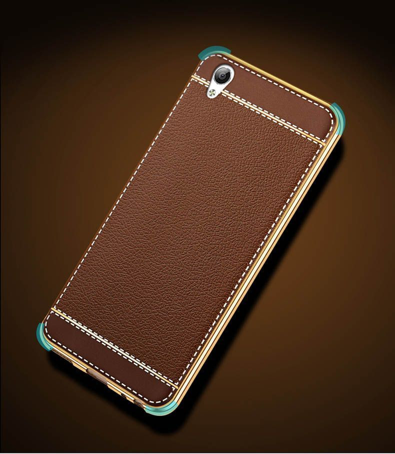 the latest e1183 344d1 VAKU ® OPPO A37 Leather Stiched Gold Electroplated Soft TPU Back Cover