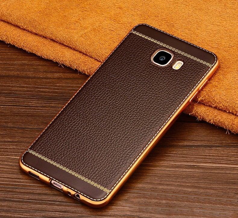 pretty nice 8e89b f6553 Vaku ® Samsung Galaxy J7 Max Leather Stitched Gold Electroplated Soft TPU  Back Cover