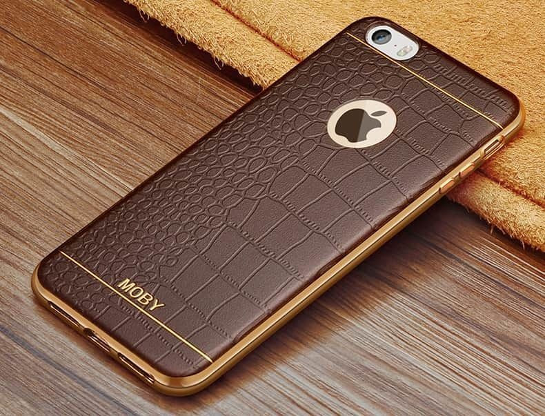 separation shoes 7eef6 b03db VAKU ® Apple iPhone 5 / 5S / SE European Leather Stiched Gold Electroplated  Soft TPU Back Cover