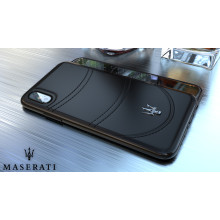 Maserati ® Apple iPhone XS Max GranTurismo Double Stitched Dual-Material Pure Leather Back Cover