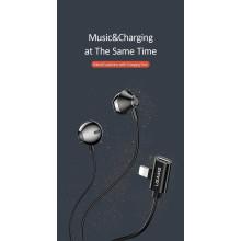 USAMS ® Magnetic Metal Hi-DEF Earphones with Charging Port For iPhone (Black)