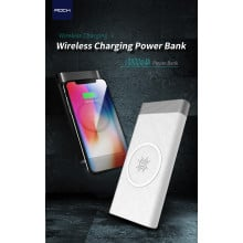 Rock ® Wire-less charging Power Bank ABS Body 10,000 mAh USB Output Power Bank with FOD Function - White