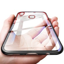 Vaku ® Vivo Y85 GLASSINO Luxurious Edition Ultra-Shine Silicone Frame Ultra-Thin Case Transparent Back Cover