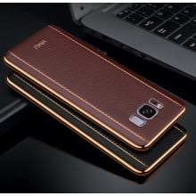 Vaku ® Samsung Galaxy S8 Plus Vertical Leather Stitched Gold Electroplated Soft TPU Back Cover