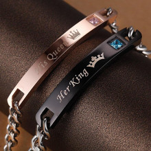 Eller Santé ® Electronic Muscle ABS EMS STIMULATOR ® Combo of HIS QUEEN & HER KING Cubic zirconia crystals Bracelets
