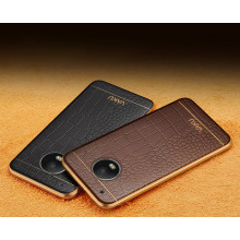 VAKU ®  Motorola Moto G5 Plus European Leather Stiched Gold Electroplated Soft TPU Back Cover