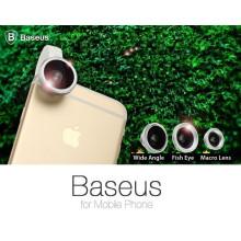 Baseus ® Super Clear 3-in-1 Mini Lens Kit with Wide Angle + Fish Eye + Macro Lens + Carry Bag + Clip Phone attachment Lens Kit Black