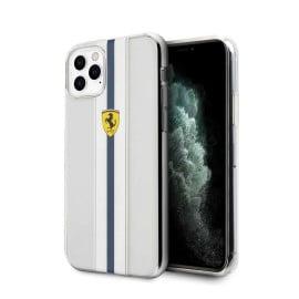 Ferrari ® For Apple iPhone 11 Pro Max Pista Blue Stripe Clear series Back Cover