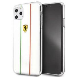 Ferrari ® For Apple iPhone 11 Pro Max Fiorano White Stripe Clear series Back Cover