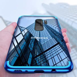 Vaku ® Samsung Galaxy S9 Plus CAUSEWAY Series Electroplated Shine Bumper Finish Full-View Display + Ultra-thin Transparent Back Cover
