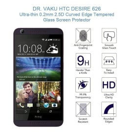 Dr. Vaku ® HTC Desire 626 Ultra-thin 0.2mm 2.5D Curved Edge Tempered Glass Screen Protector Transparent