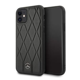 Mercedes Benz ® Apple iPhone 11 Wave Collection Quilted Genuine Leather Hard Case Back Cover