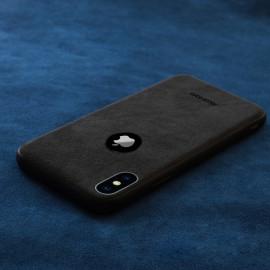 VAKU ® For Apple iPhone XS Max Alcantara Super Suede Logo Cut Leather Cover
