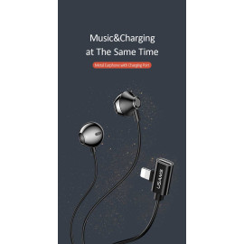 USAMS ® Magnetic Metal Hi-DEF Earphones with Charging Port For iPhone (Black)