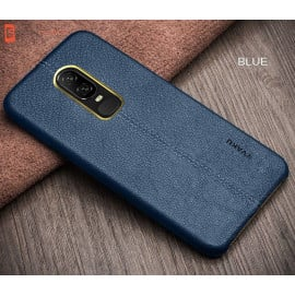 Vaku ® OnePlus 6 Lexza Series Double Stitch Leather Shell with Metallic Camera Protection Back Cover
