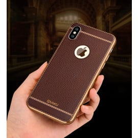 Vaku ® Apple iPhone XS Max Leather Stitched Gold Electroplated Soft TPU Back Cover