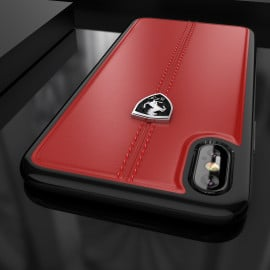 Ferrari ® Apple iPhone X Vertical Contrasted Stripe - Material Heritage leather Hard Case back cover