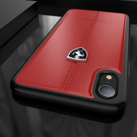 Ferrari ® Apple iPhone XR Vertical Contrasted Stripe - Material Heritage leather Hard Case back cover