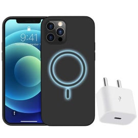 eller santé  ® iPhone 12/12Pro Magsafe  Halo Lock Magnetic Wireless Charging Silicon Velvet-Touch Finish Shock-Proof Back Cover With Free 20W Type C Charger