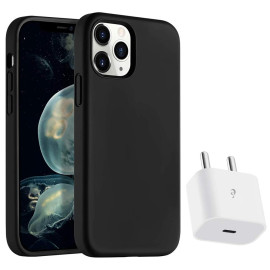 eller santé ® Apple iPhone 12 / 12 Pro Liquid Silicon Velvet-Touch Silk Finish Shock-Proof Back Cover With Free 20W USB Type C Adapter