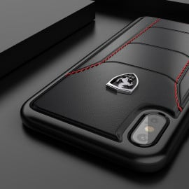 Ferrari ® Apple iPhone XS Max Official 488 GTB Logo Double Stitched Dual-Material Pure Leather Back Cover