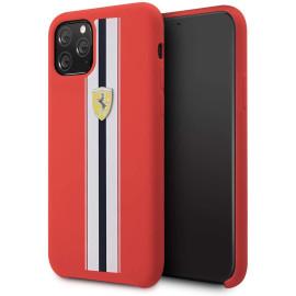 Ferrari ® For Apple iPhone 11 Pro Max White Stripe Liquid Silicon Velvet-Touch Silk Finish Shock-Proof Back Cover