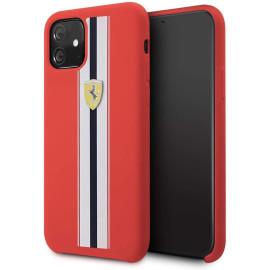 Ferrari ® Apple iPhone 11 White Stripe Liquid Silicon Velvet-Touch Silk Finish Shock-Proof Back Cover