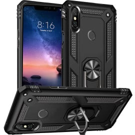 Vaku ® Xiaomi Redmi Note 6 Pro Armor Ring Shock Proof Cover with Inbuilt Kickstand