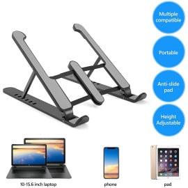eller santé ® P1 Laptop Stand, Foldable Portable Desktop Computer Laptop Stand, Aluminum Alloy + ABS 6-Level Angle Adjustable Height Laptop Mount, Suitable for All Laptops and Tablets - Black