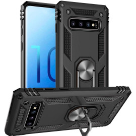 Vaku ® Samsung Galaxy S10 Armor Ring Shock Proof Cover with Inbuilt Kickstand